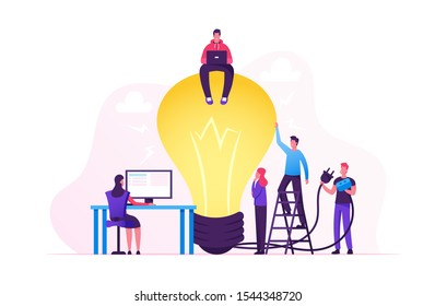 Creative Crisis, Teamworking and Searching Idea Concept. Business People Stand at Huge Turned Off Light Bulb Holding Plug. Team Search Insight for Project Development. Cartoon Flat Vector Illustration