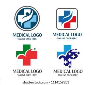 creative cross health medical logo concept