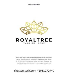 Creative crown and leaf icon logo design vector illustration. royal tree. king leaf logo design color editable