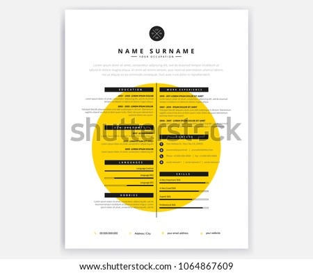 creative curriculum vitae cv yellow design template for artistic person vector dcoument illustration