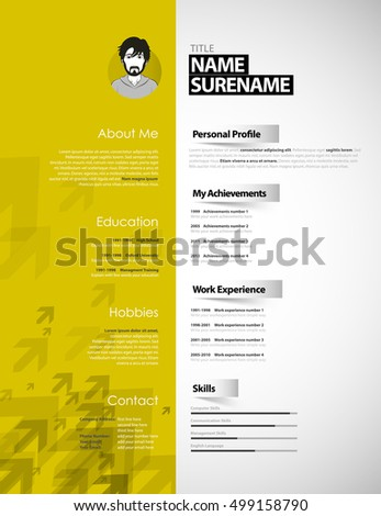 Creative Curriculum Vitae Template Yellow Stripe Stock Vector