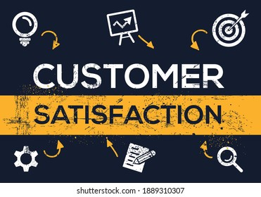 Creative (customer satisfaction) Banner Word with Icons, Vector illustration.