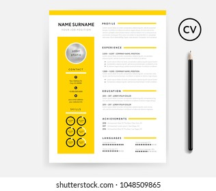 Creative CV / resume minimal template in yellow color. Minimalist vector template. Curriculum vitae infographics and icons