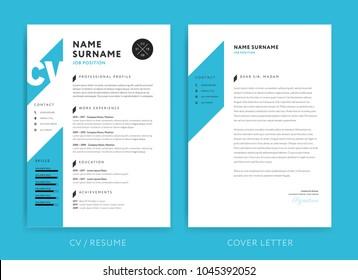 Creative CV / resume template blue background color minimalist vector cv