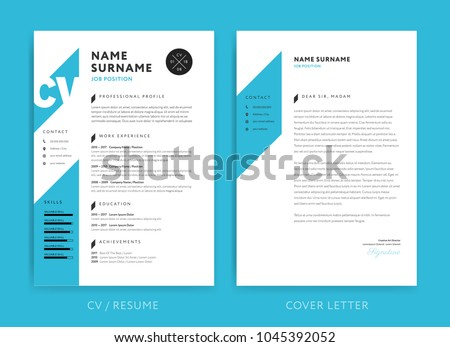 creative cv resume template blue background のベクター画像素材
