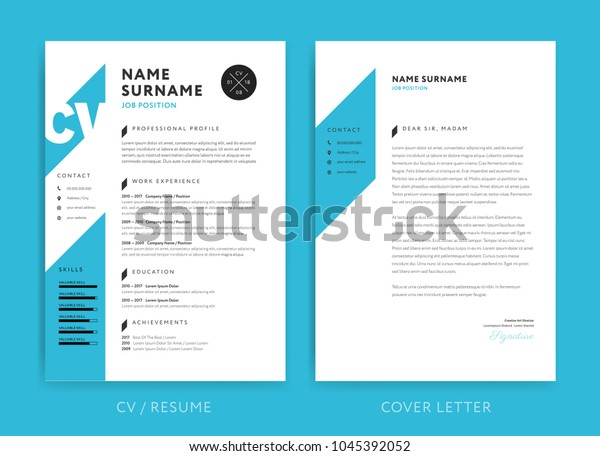 creative cv resume template blue background stock vector