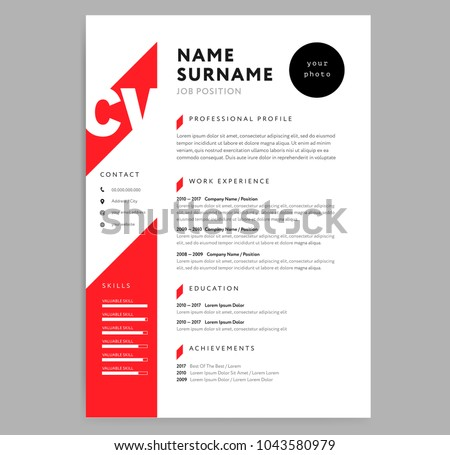 creative cv resume template red color のベクター画像素材