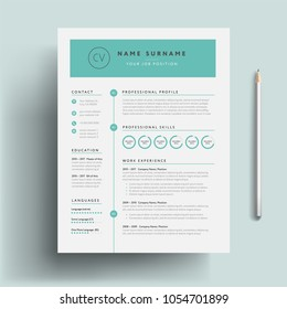 Creative CV / resume template teal green background color cool minimalist vector