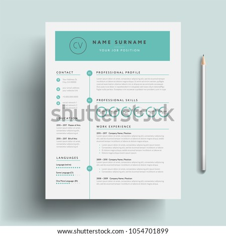 Creative CV Resume Template Teal Green Background Color Cool Minimalist Vector