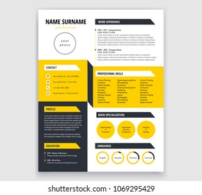 Creative CV / resume template yellow and black design sample - cool 3d background effect