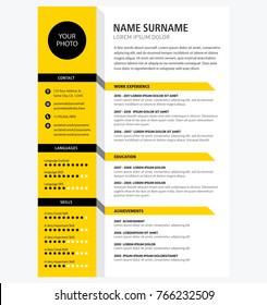 Creative CV / resume template yellow color minimalist vector