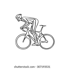 Creative cyclist silhouette. Man riding racing bicycle. Vector illustration