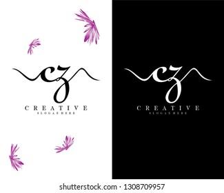 creative cz/zc logo design vector