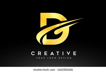 Creative D Letter Logo Design with Swoosh Icon Vector Illustration.