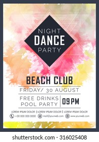 Creative Dance Party celebration flyer, banner or template design with colorful splash.