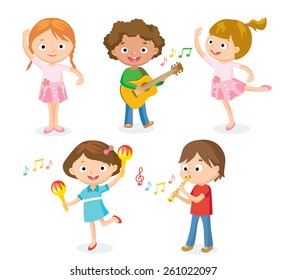 creative dancing kids and kids with musical instruments