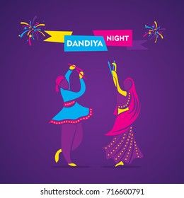 creative dandiya night, garba dance banner design