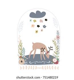 Creative deer in jar with floral wreath. Childish print for nursery, kids apparel,poster, postcard. Vector Illustration