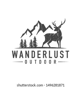 creative deer and mountain logo - vector illustration on a light background