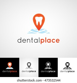 Creative dental logo design. Teeth care icon set. dentist clinic insignia, doctor practice sign, orthodontist illustration,  vector concept for stationary, medical or medicine poster image.