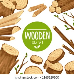 Creative design of banner with round emblem Wooden logs set in arrangement with wood stubs and branches