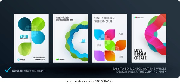 Creative design of business brochure set, abstract horizontal cover