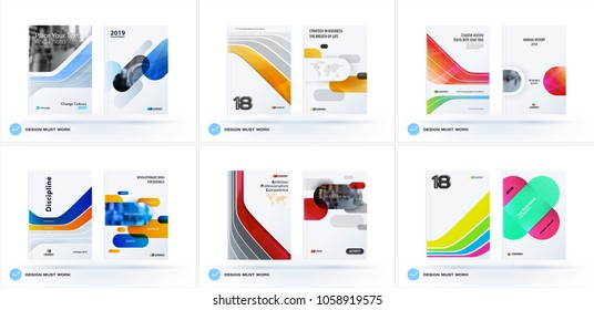 Creative design of business brochure set, abstract horizontal cover layout, flyer in A4 with colourful smooth shapes