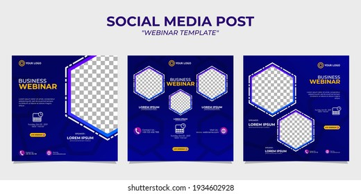 Creative design collection of social media story post templates on a blue gradient background. It is suitable for business webinar, marketing webinar, online class program, etc.
