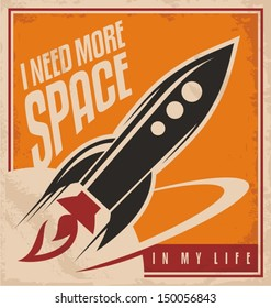Creative design concept with rocket and space. Vintage artistic image on old paper texture.