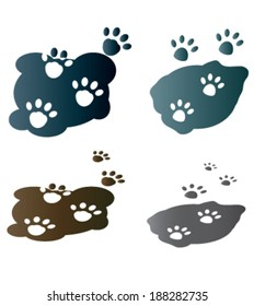 Creative design of dog and cat paw. Fully editable vector.