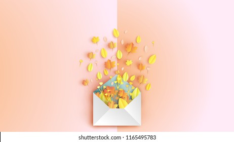 Creative design for Envelope with colorful leaves In the Autumn. greeting card for autumn. Bouquet in the form of envelope. Envelope and flowers on the book. paper art design. vector, illustration.