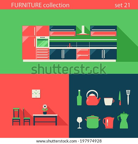 creative furniture icons set flat design. Creative Design Flat Furniture Vector Icons Set. Kitchen, Chair, Table,  Stuff. Creative Set E