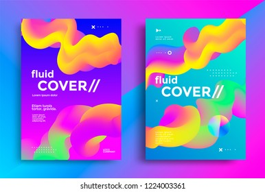 Creative design fluid poster with futuristic gradients shapes. Vibrant geometric elements. Minimal brigth backgrounds for flyer, cover, brochure. Vector template