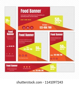 Creative Design For Food Web banner Set of different standard sizes. Templates with place for photos, buttons. Vector illustration. Eps 10.