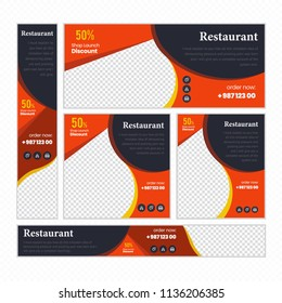 Creative Design For Food Web banners of different standard sizes. Templates with place for photos, buttons. Vector illustration. Set.