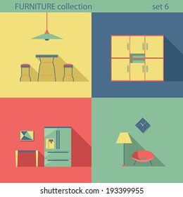 creative furniture icons set flat design. Creative Design Furniture Icons Set. Interior Long Shadow Style. Furniture  Vector Collection. Home Creative Set Flat T