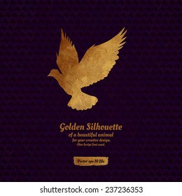 Creative design with golden silhouette of a dove for card, banner, cover, brochure, etc.