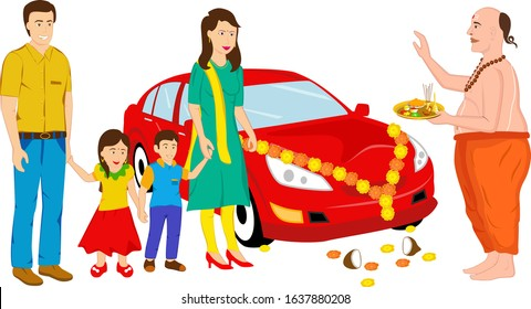 Creative design of Indian family celebrating the new red car in the family and the Indian priest performing the (pooja) prayer to the family in a traditional style. Professional and unique design.