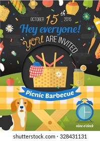 Creative design of invitation card with romantic picnic in the night sky. Flat design of invite card in vector format. Glade illustration with food and pastime icons. Barbecue party frame.