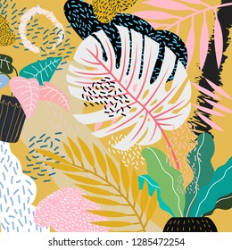 Creative design leaves pattern, hand drawn watercolor vector illustration. Monstera print