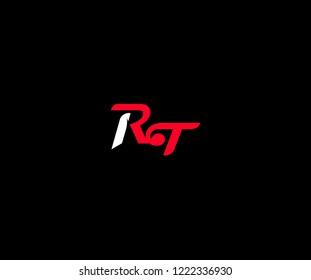 Creative Design Letter RT Vector Sporty Modern Logo Illustration