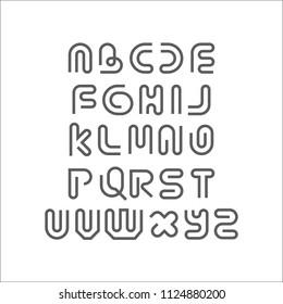 Creative Design Linear Logo Font vector alphabet design. ABC Letter Logotype templates. Creative outline typeface. Line art style.
