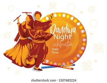 creative design for Navratri Dandiya in disco Garba Night couple dance banner poster for  Dussehra festival of India