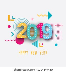 Creative design of a New Year card in 2019 on a modern background. Bright poster in the style of memphis. A base of geometric elements and color numbers.