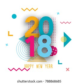 Creative design of the New Year's card in 2018 on a modern background.Background of geometric elements and color numbers