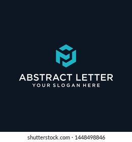 creative design outline letters FM or FJ hexagon shape