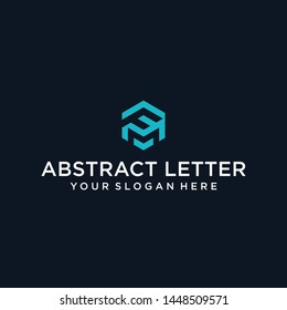 creative design outline letters FM hexagon shape