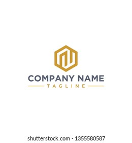 creative design outline letters NW or RW hexagon shape