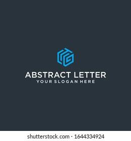 creative design outline letters TG or CTG hexagon shape