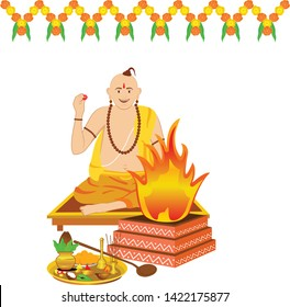Creative design of a panditji doing the Havan or yagna pooja. A pooja thali with some lamp, flower, coconut, copper pot, incense sticks, betel leaf and camphor and the fire in decorated clay pot.